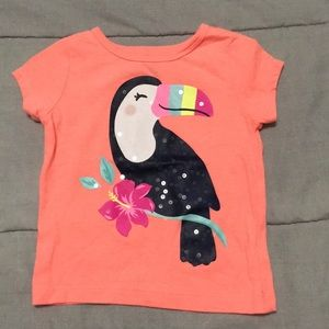 Super cute sparkly toucan Carter's tee